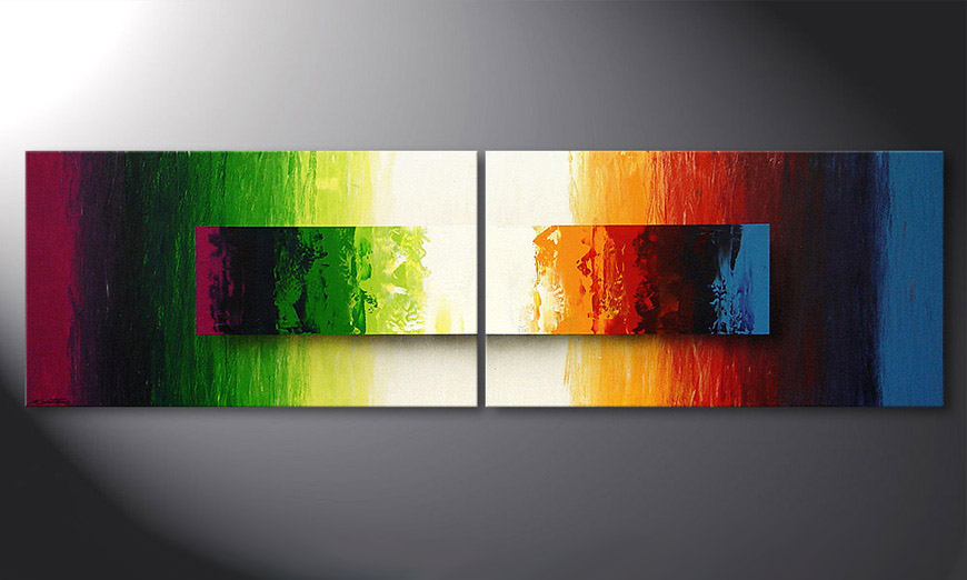 la peinture moderne battle of colours 200x60cm tableaux xxl. Black Bedroom Furniture Sets. Home Design Ideas