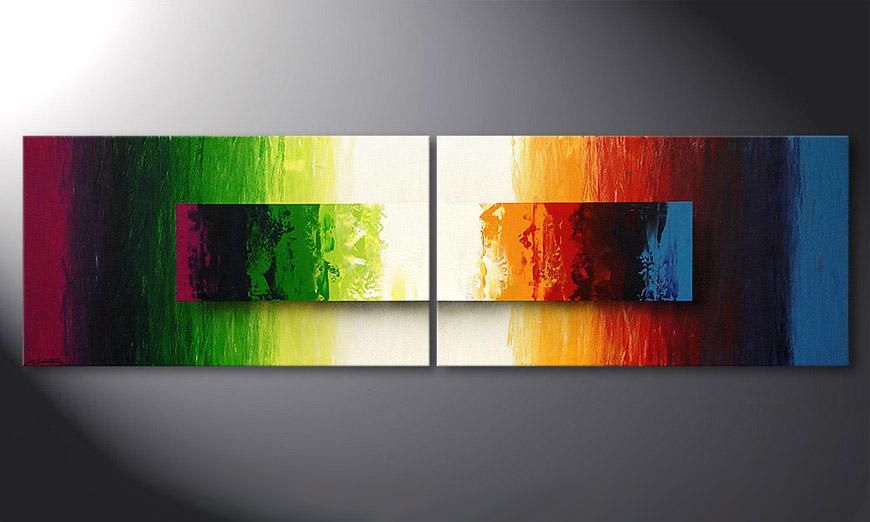 La peinture moderne Battle of Colours 200x60x2cm