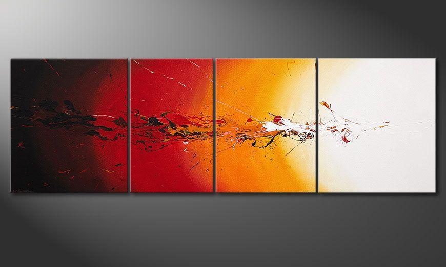 La toile  XXL peinte à la main Fiery Splash 250x80x2cm