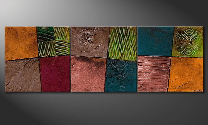 La toile abstraite Facets of Life 210x70x2cm