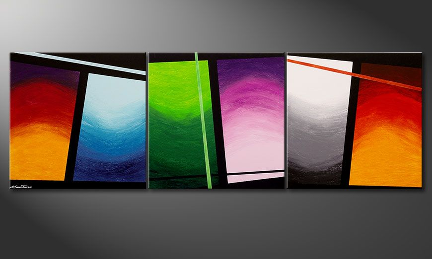 La toile en grand format Wave of Colors 240x80x2cm