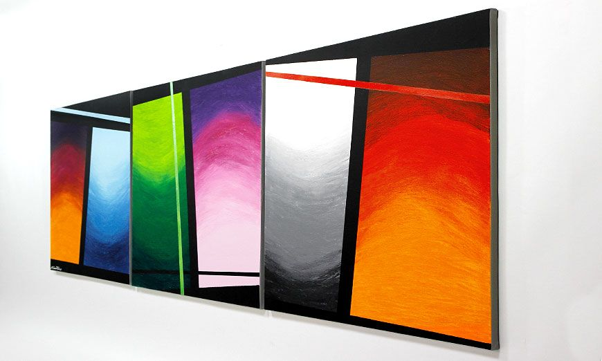 la toile en grand format wave of colors 240x80cm tableaux xxl. Black Bedroom Furniture Sets. Home Design Ideas
