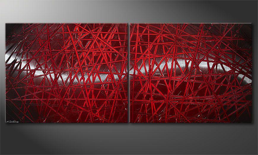 La toile moderne Red Push 200x80x2cm