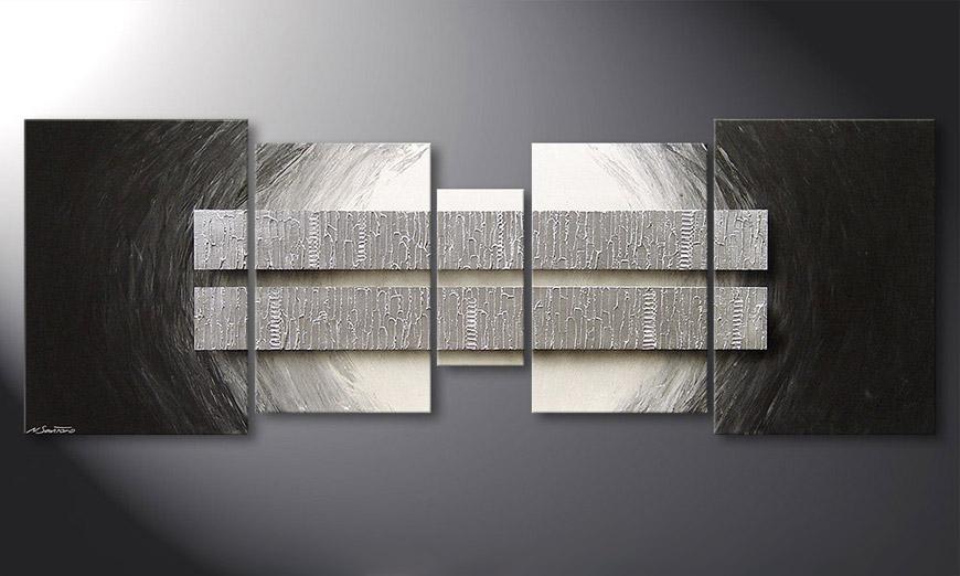 La toile pour salon silver blocs 200x70cm tableaux xxl - Tableau pour salon moderne ...