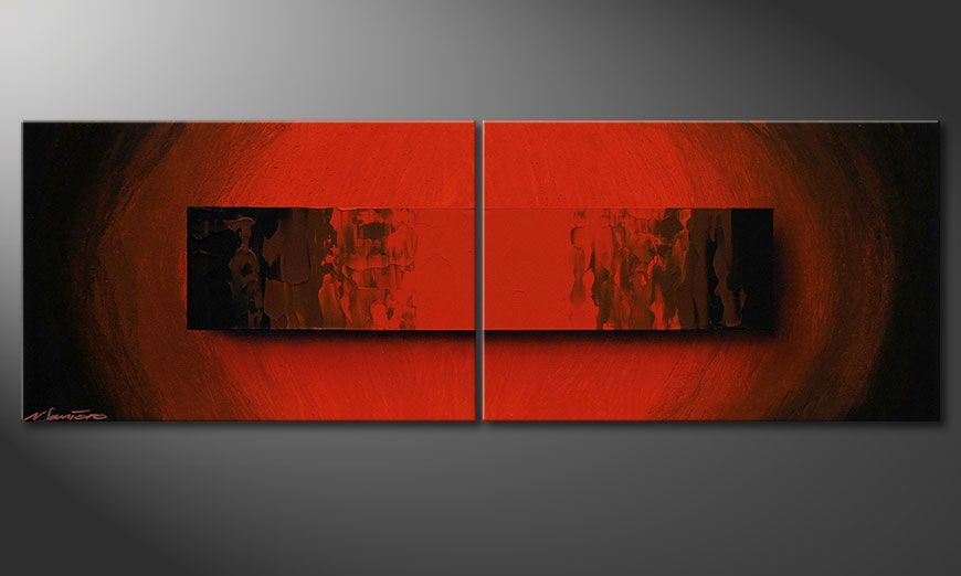 Le tableau 100% fait main Glowing Red 120x40x2cm