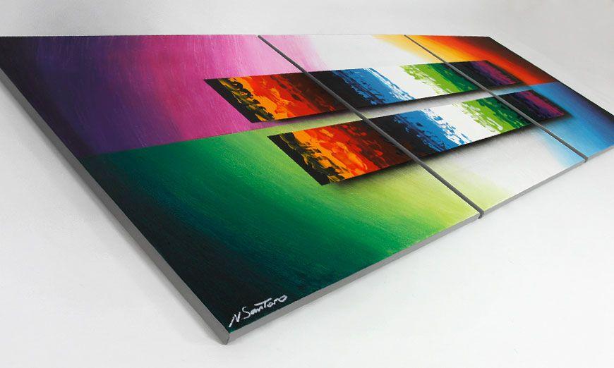 le tableau de salon expression of colours 210x70cm tableaux xxl. Black Bedroom Furniture Sets. Home Design Ideas
