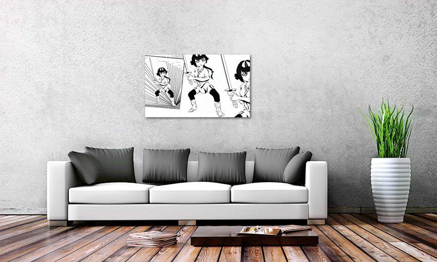 le tableau design manga samurai 100x60cm tableaux xxl. Black Bedroom Furniture Sets. Home Design Ideas