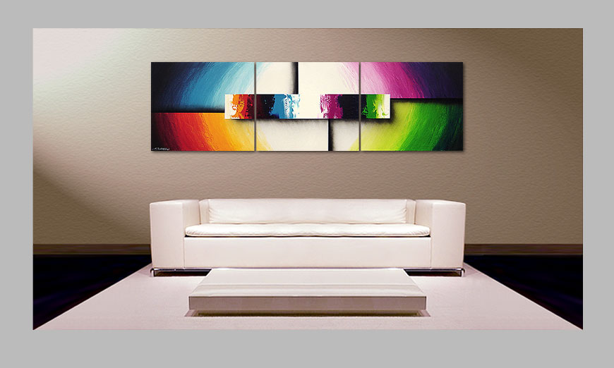 le tableau moderne colorful life ii 210x60cm - Tableaux Modernes Colors