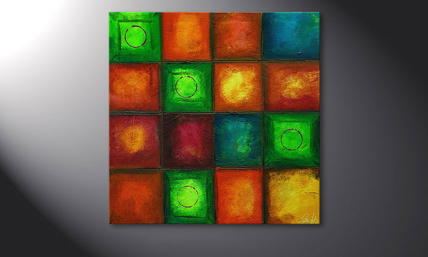 Le tableau mural Colorful Cubes 80x80x2cm