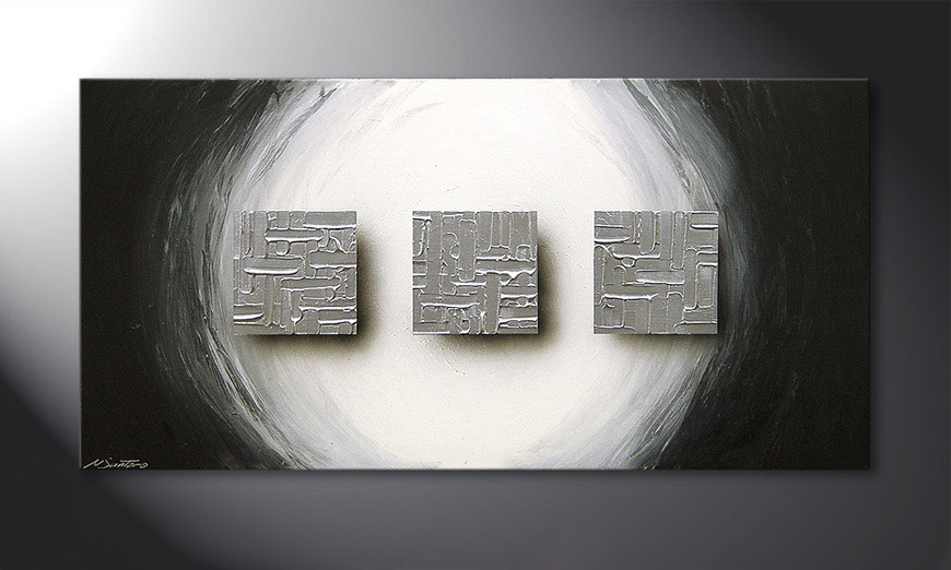 Le tableau mural Cubes of Silver 120x60x2cm