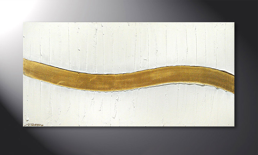 Le tableau mural Golden Wave 120x60x2cm