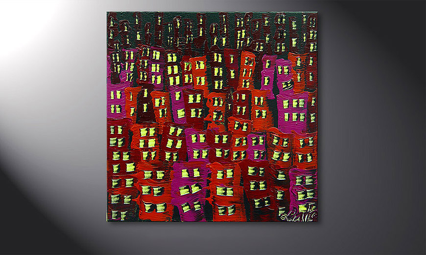 Le tableau mural Red City 50x50x2cm