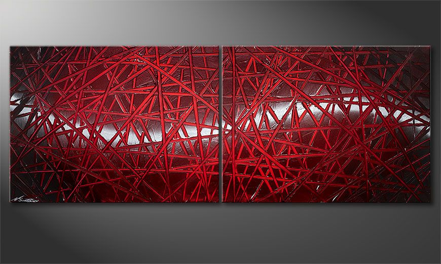 Le tableau mural Red Push 160x60x2cm