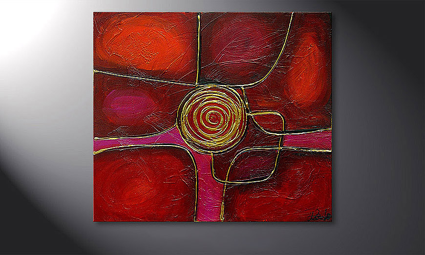 Le tableau mural Spinning Gold 80x70x2cm