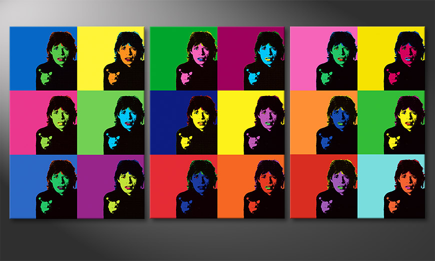 le tableau mural moderne mick jagger ii 150x70cm tableaux xxl. Black Bedroom Furniture Sets. Home Design Ideas