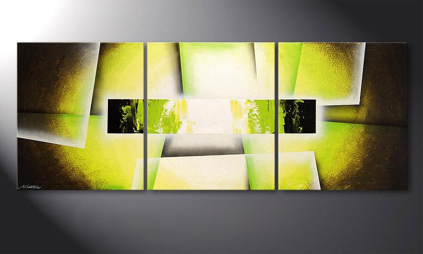 Le tableau pour salon broken green 180x70cm tableaux xxl for Tableau mural zen