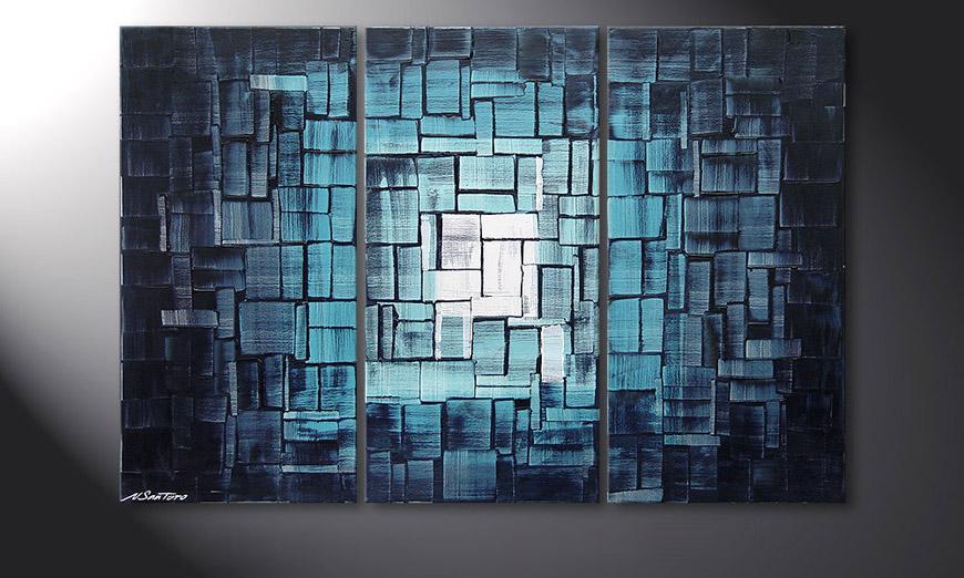 Le tableau pour salon frozen lights 120x80cm tableaux xxl - Tableaux modernes pour salon ...