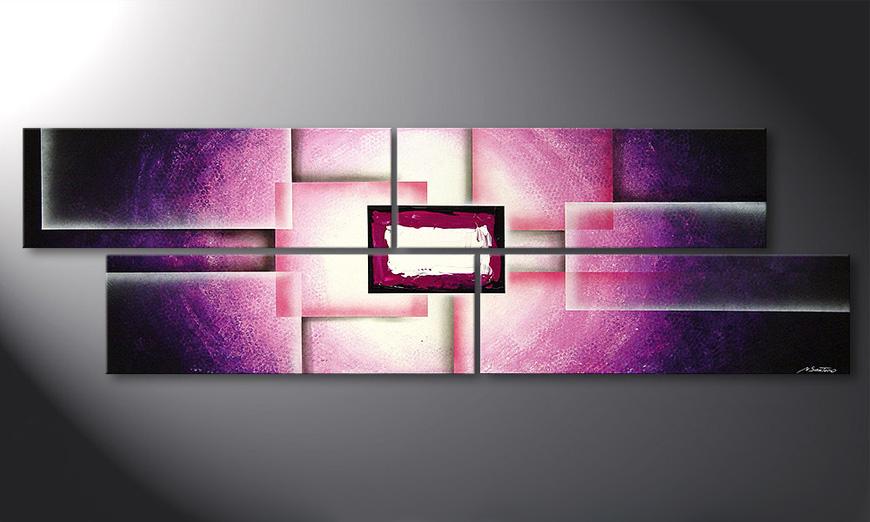 Le tableau pour salon Purple Sun 200x60x2cm