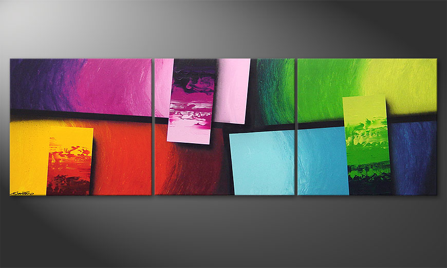 Le Tableau Pour Salon Squaring Of Colors 210x70cm