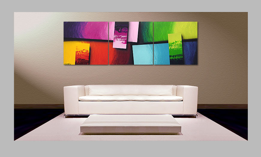 le tableau pour salon squaring of colors 210x70cm tableaux xxl. Black Bedroom Furniture Sets. Home Design Ideas