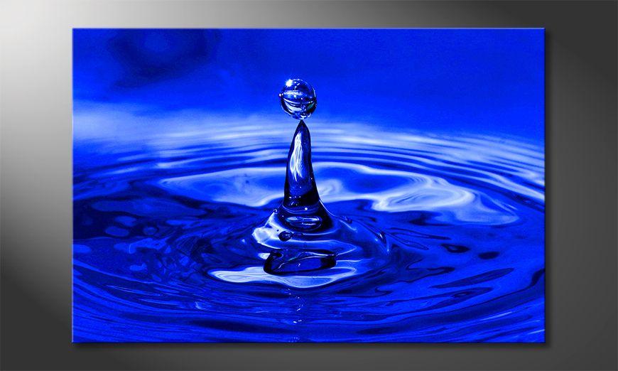 limpression sur toile blue drop 120x80cm tableaux xxl. Black Bedroom Furniture Sets. Home Design Ideas