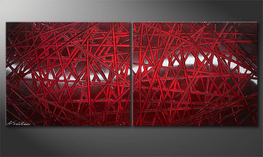 Notre tableau déco Red Push 120x50x2cm