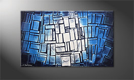 Art moderne 'Blue Windows' 100x60cm