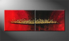 Art moderne 'Glowing Gold' 200x70cm