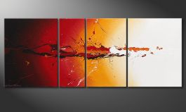 La peinture 100% faite main 'Fiery Splash' 130x50cm