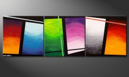 La peinture faite main 'Wave of Colors' 150x50cm