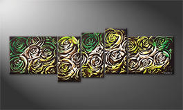 Le tableau exclusif 'Green Roses' 210x70cm