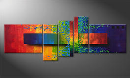 Le tableau exclusif 'Playful Rainbow' 160x60cm