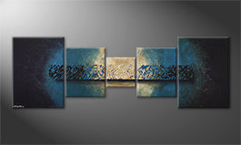Le tableau moderne 'Deep Blue Light' 210x70cm
