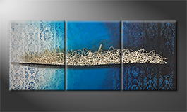 Le tableau mural 'Blue Memories' 150x60cm