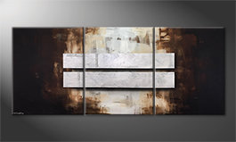 Le tableau mural 'Fortunate Silver' 210x90cm