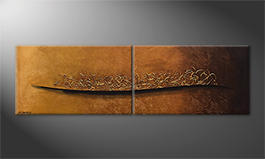 Le tableau mural 'Golden Memories' 200x60cm