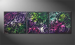Le tableau pour salon 'Night Of Roses' 180x60cm