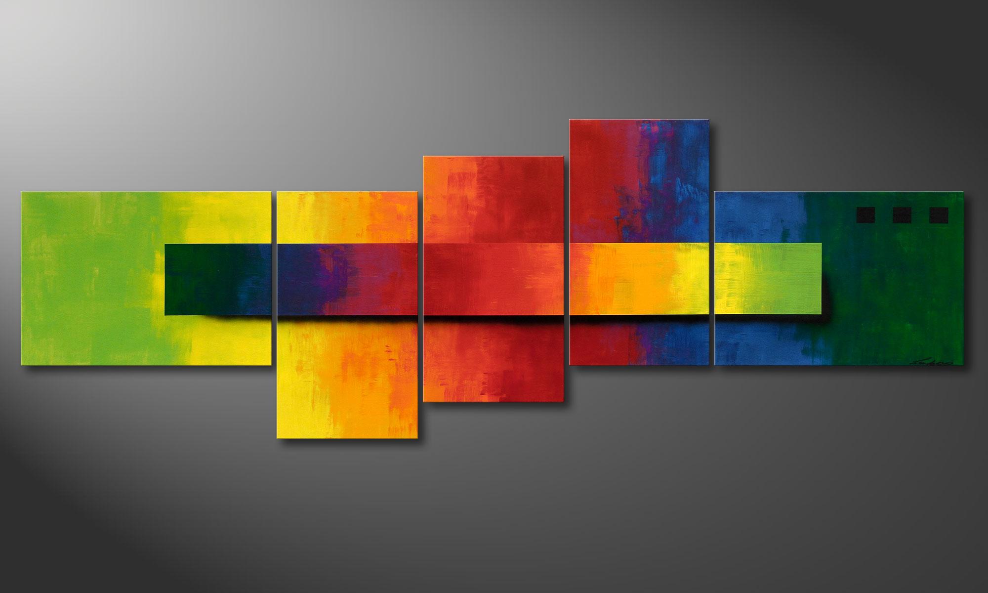Tableaux peints a la main muraux asymetriques Formats XXL La toile Facets of Rainbow xcm