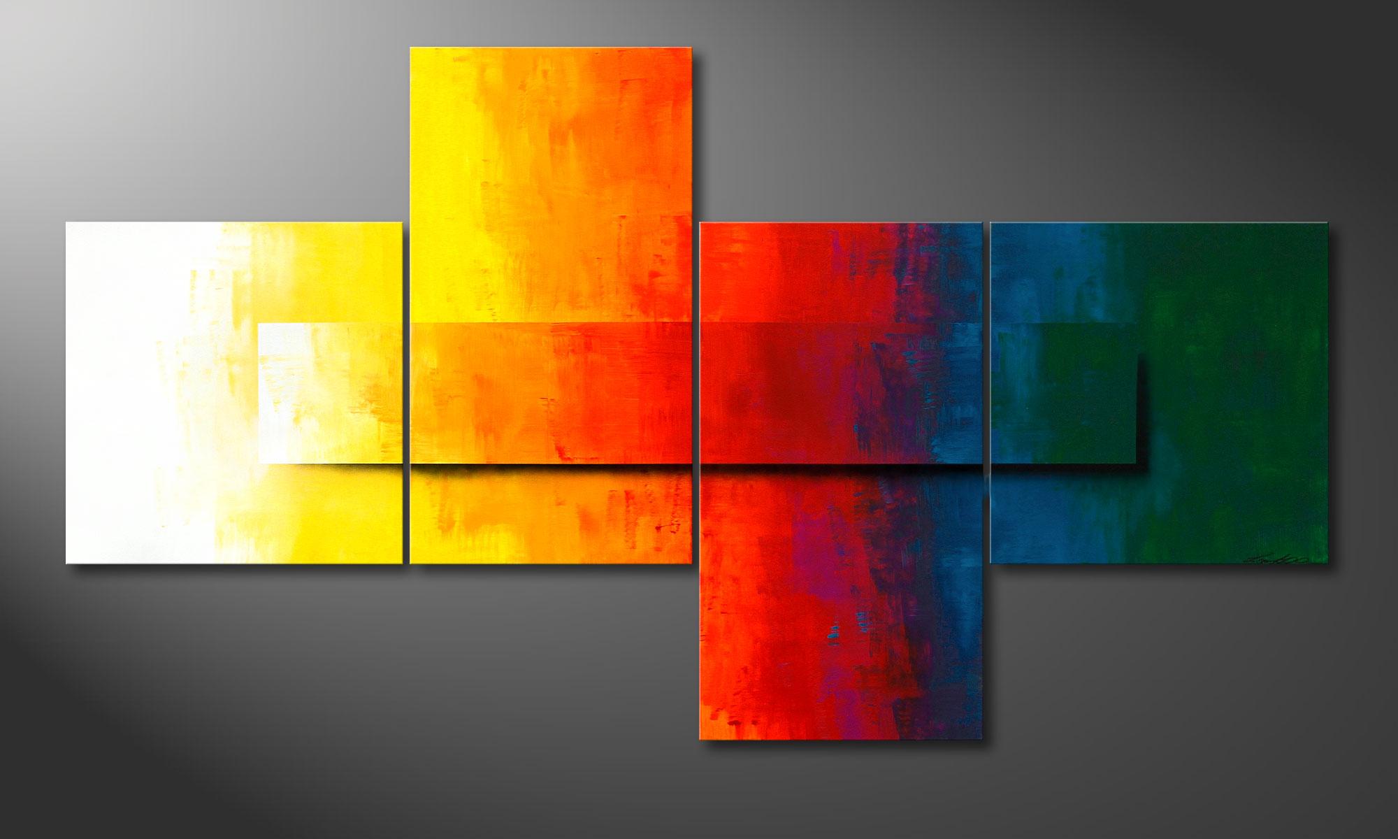 La toile xxl moderne rainbow colors 220x120cm tableaux xxl for Tableau pour salon moderne