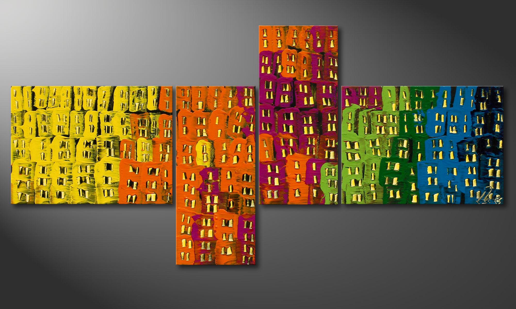 Le tableau mural design crazy town 120x60cm tableaux xxl - Tableau mural design ...