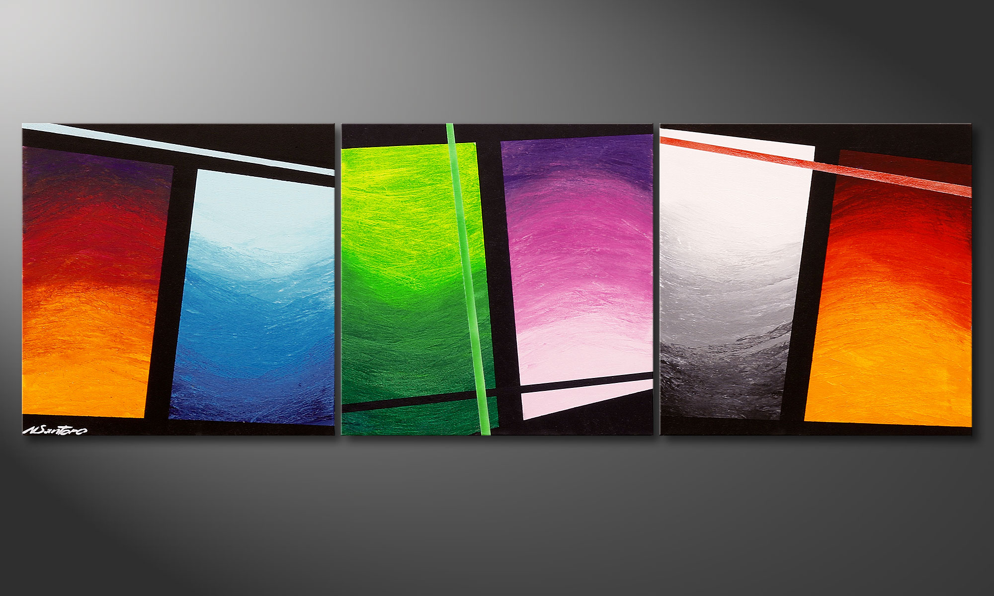 La peinture faite main wave of colors 150x50cm tableaux xxl - Tableaux modernes colores ...