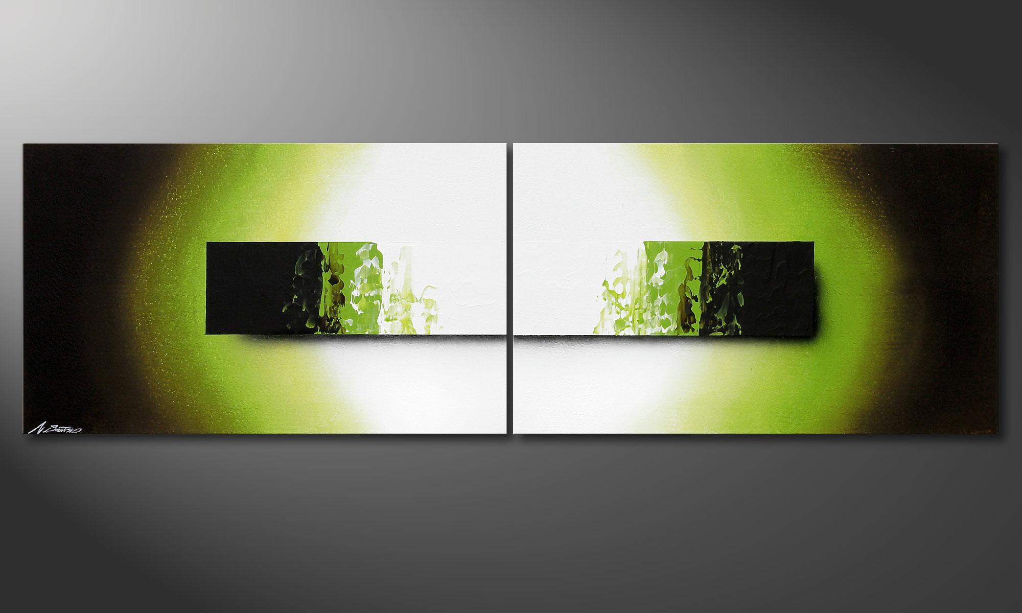 La peinture moderne jungle fever 200x60cm tableaux xxl for Peinture murale vert anis
