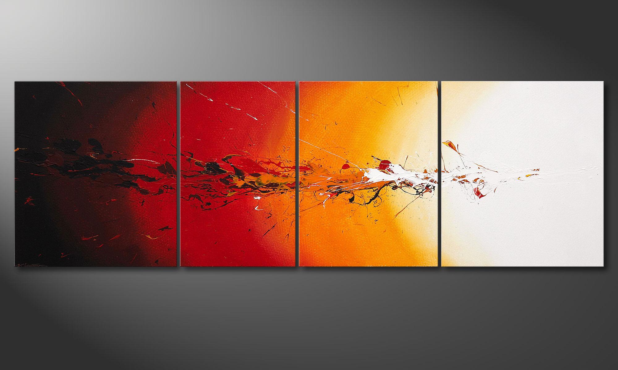 la toile xxl peinte la main fiery splash 250x80cm. Black Bedroom Furniture Sets. Home Design Ideas