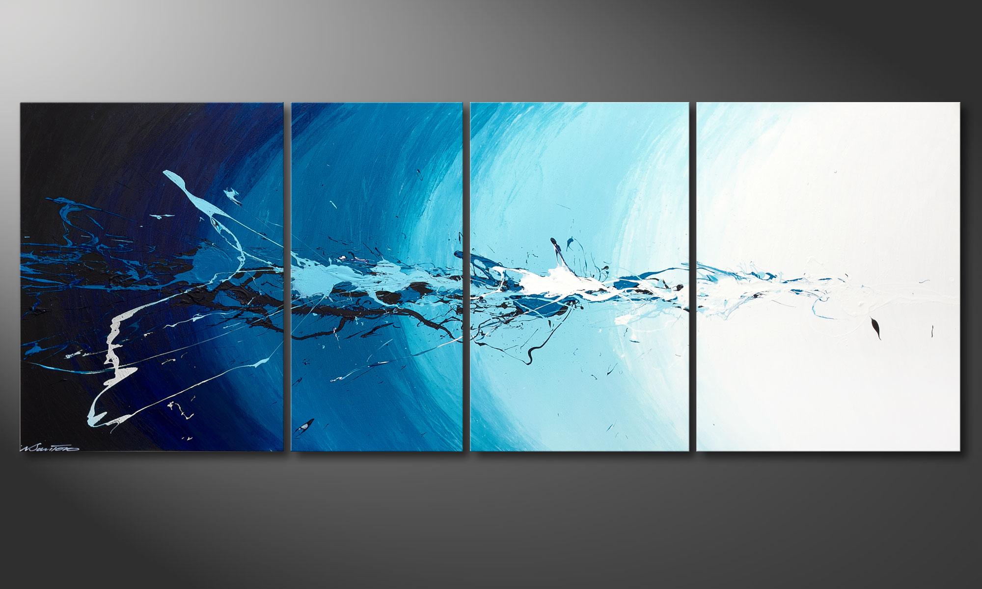 La toile multi panneaux water splash 210x80cm tableaux xxl - Tableau multi panneaux ...