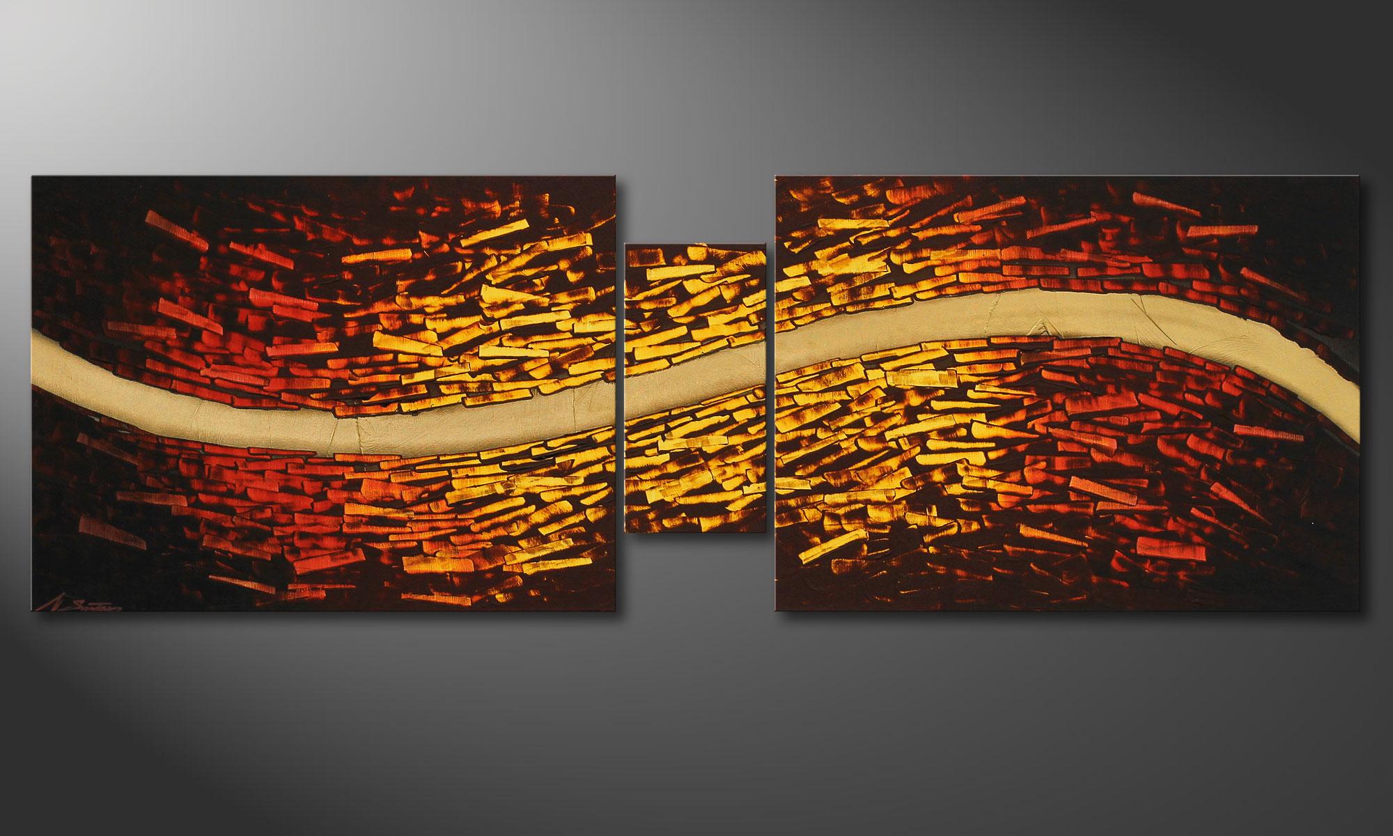 Le tableau mural burning gold 180x60cm tableaux xxl - Tableau mural design ...