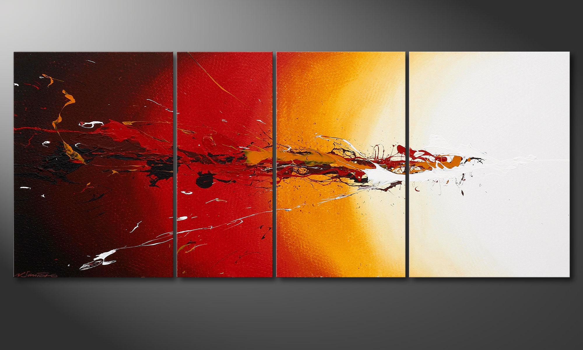 Le tableau mural moderne fiery splash 170x70cm tableaux xxl - Tableau moderne ...
