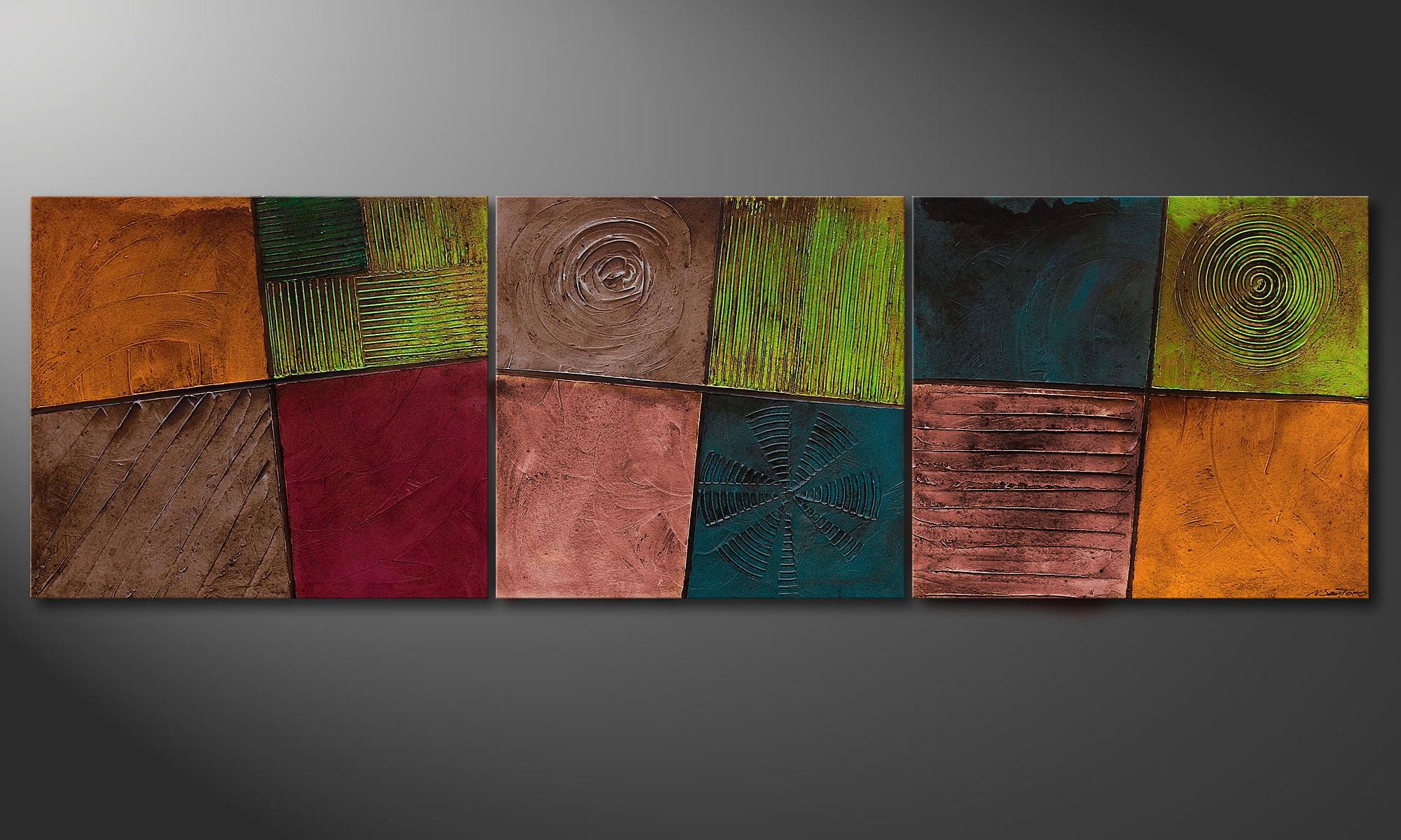 la peinture pour salon facets of life 260x80cm tableaux xxl. Black Bedroom Furniture Sets. Home Design Ideas