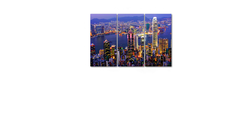 limpression sur toile hong kong view 120x80cm tableaux xxl. Black Bedroom Furniture Sets. Home Design Ideas