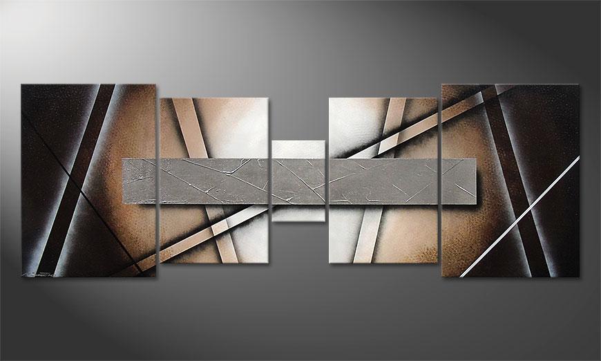 La toile pour salon Silver Mirror 200x70x2cm