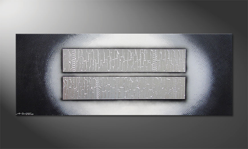 Le tableau mural Blocks of Silver 150x60x2cm